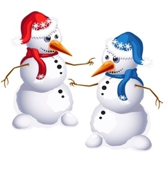 Two traditional snowman in red and blue clothes vector image vector image