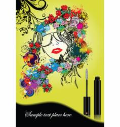 woman silhouette with mascara vector image