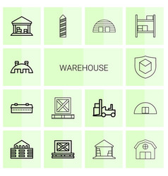 14 warehouse icons vector