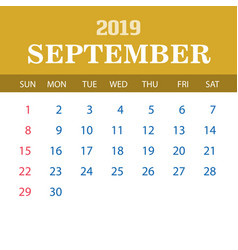 2019 calendar template - september vector image