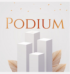 3d realistic white square podium with soft light vector image