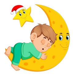 a boy sleep on the moon vector image