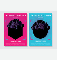 abstract posters with 3d elements futuristic vector image