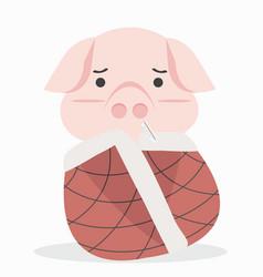 Adorable little sick pig vector
