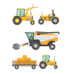 Agricultural machinery and farm vehicle set vector