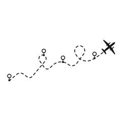 Airplane dotted route line trip flight transport vector