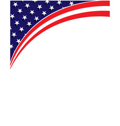 american abstract flag corner border banner vector image