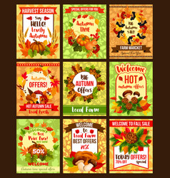 Autumn seasonal sale fall discount promo posters vector