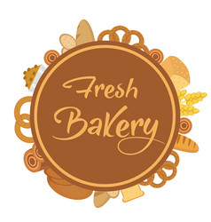 Bakery products frame with bread loaf buns vector