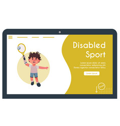banner disabled kid playing vector image