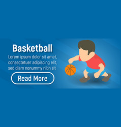 basketball concept banner isometric style vector image