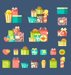 birthday gifts with ribbons flat vector image