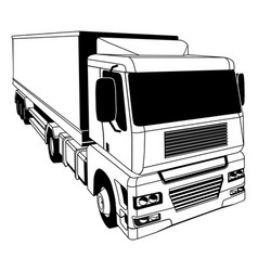 Black and white semi truck vector