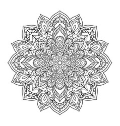 black indian mandala on white background vector image