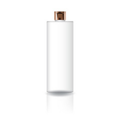 Blank white cosmetic cylinder bottle with copper vector