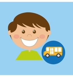 Boy cartoon school bus icon design vector