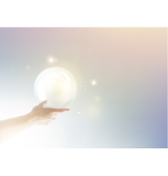 Bright light ball over human hand vector image