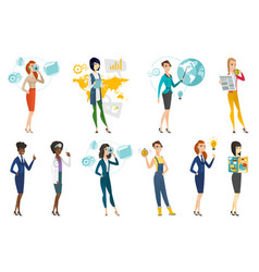 Business woman stewardess doctor profession set vector