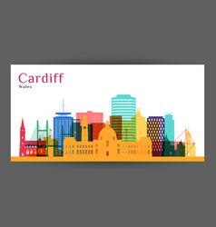 cardiff city architecture silhouette vector image