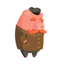cartoon old pig with cap and mustache vector image