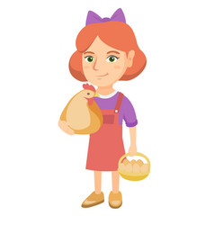 caucasian girl holding a chicken and hen eggs vector image
