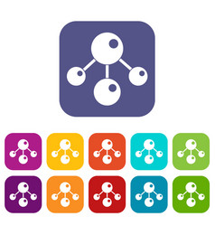 chemical and physical molecules icons set flat vector image