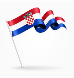 Croatian pin wavy flag vector