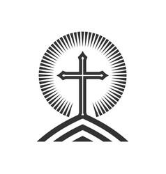 Cross jesus christ on mountain vector