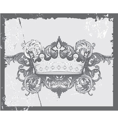 Crown with baroque floral vector