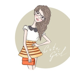 Cute Hipster Fashion Girl vector