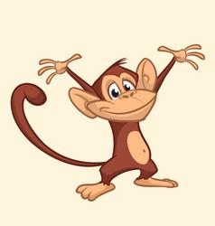 Cute monkey cartoon icon vector