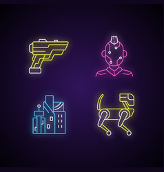 Cyberpunk items neon light icons set vector