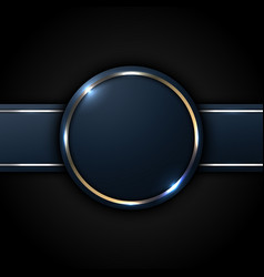 Dark blue circle and stripe label with golden vector