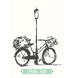 Drawn vintage bicycle sketch vector