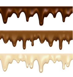 Dripping white chocolate melt vector