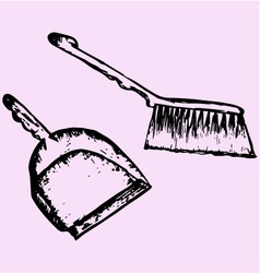 Dustpan sweeping brush vector