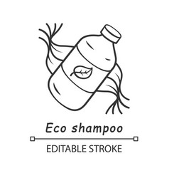 Eco shampoo linear icon vector