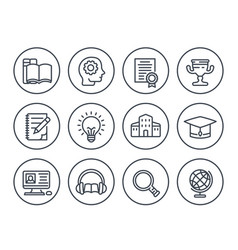 Education learning line icons on white vector