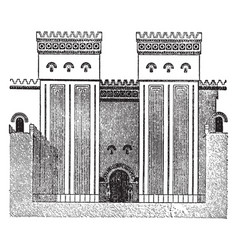 faade of great hall ptolemaic temple vintage vector image