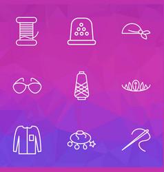 Fashion icons line style set with needle bandanna vector