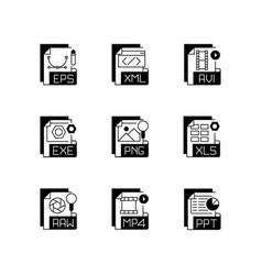 file formats black linear icons set vector image
