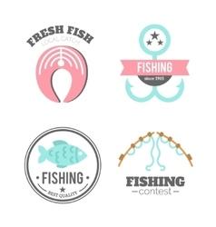 Fishing badges logo elements paddles vector