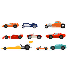 flat style race cars set vector image