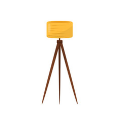 floor lamp with yellow lampshade and three wooden vector image