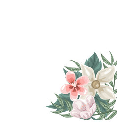 frame of flowers jasmine and tulips vector image