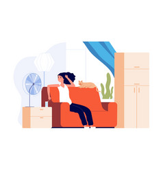 Girl cooling air fan hot weather woman with cat vector