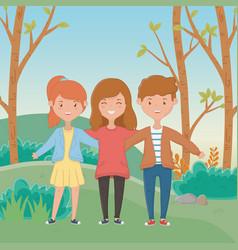 Girls and boy friendship design vector