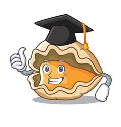 Graduation oyster character cartoon style vector