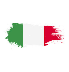 Grunge brush stroke with italy national flag vector
