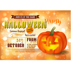 Halloween party invitation with pumpkin vector